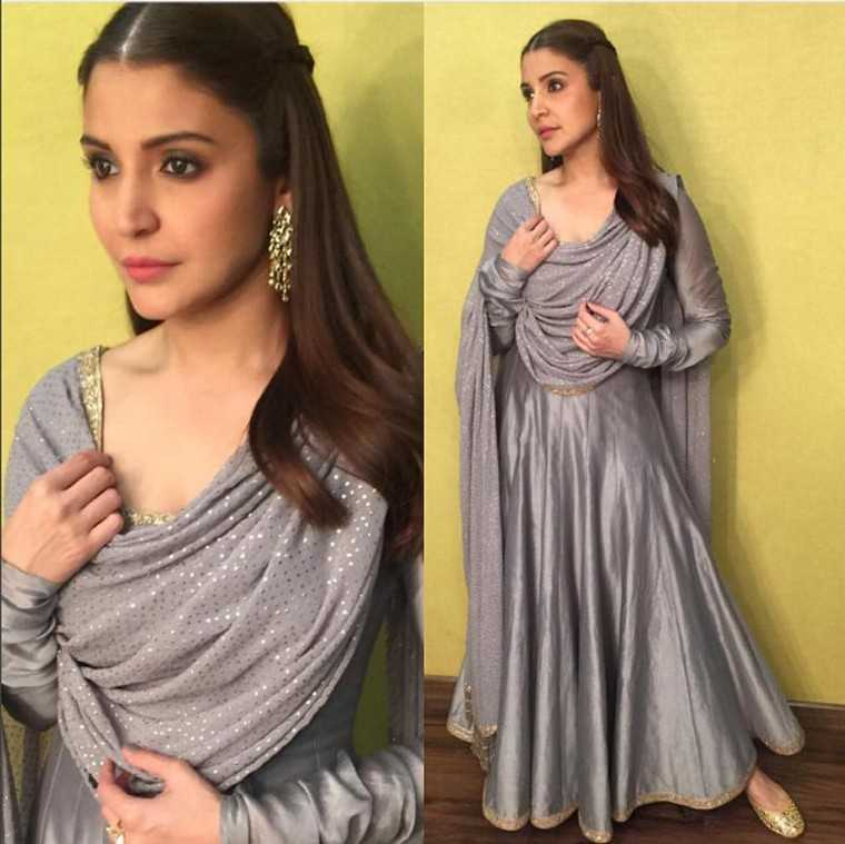 RIMPLE AND HARPREET NARULA Another Indianwear look she rocked was this Rimple and Harpreet Narula kurta with Isharya jewellery and Fizzy Goblet juttis. A pretty, twisted braid added a girly finish to an otherwise very grown-up look.