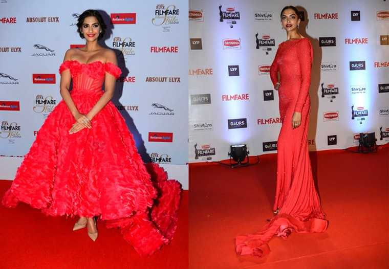 Fashion face off: Sonam Kapoor and Deepika Padukone in red
