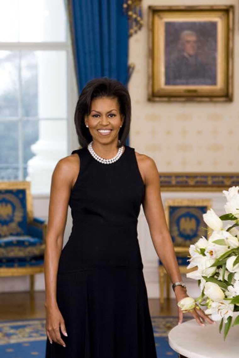 Michelle Obama in Michael Kors black dress