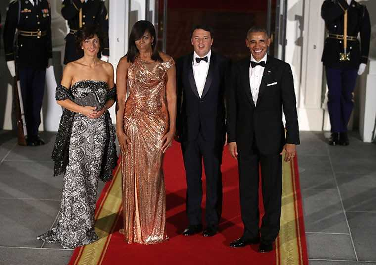 First Lady US Michelle Obama Final State Dinner Atelier Versace gown