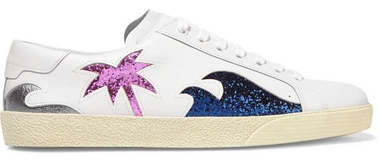 Leather sneakers with glitter