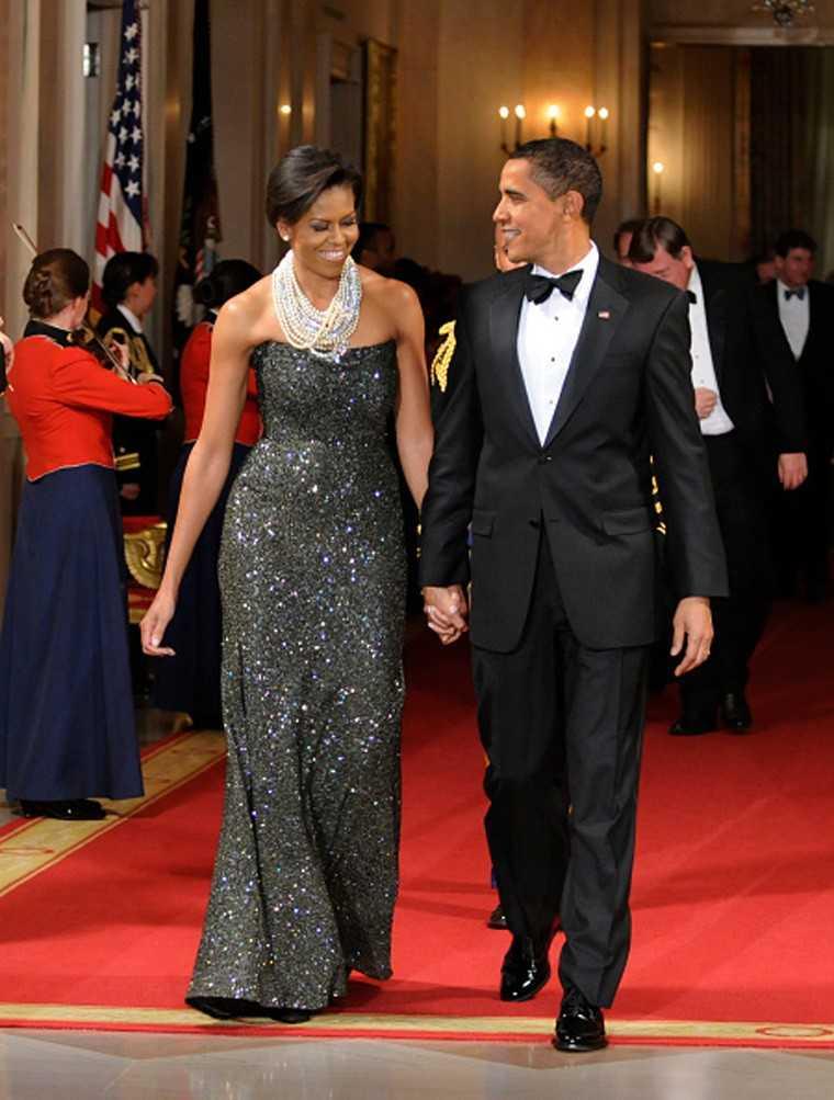 Michelle Obama Barack Obama White House Black Tie Dinner 2009