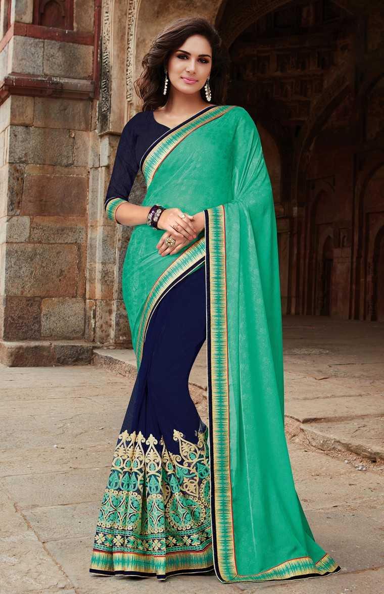 Half-and-half sari