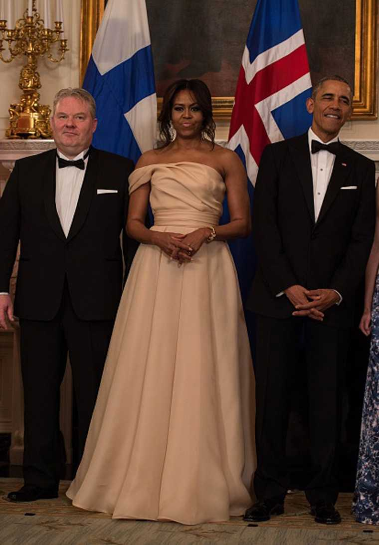 Michelle Obama in Naeem Khan gown at Nordic State Dinner 2016