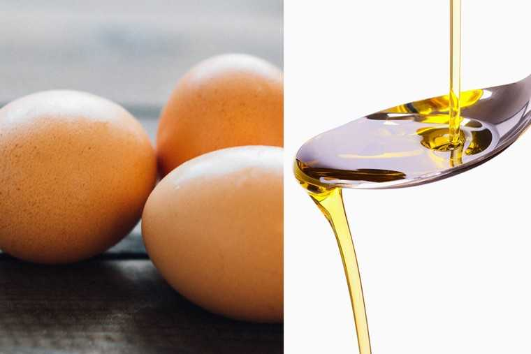 Vegetable oil and eggs