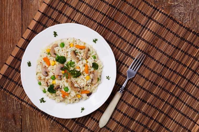 Triple mushroom quinoa risotto