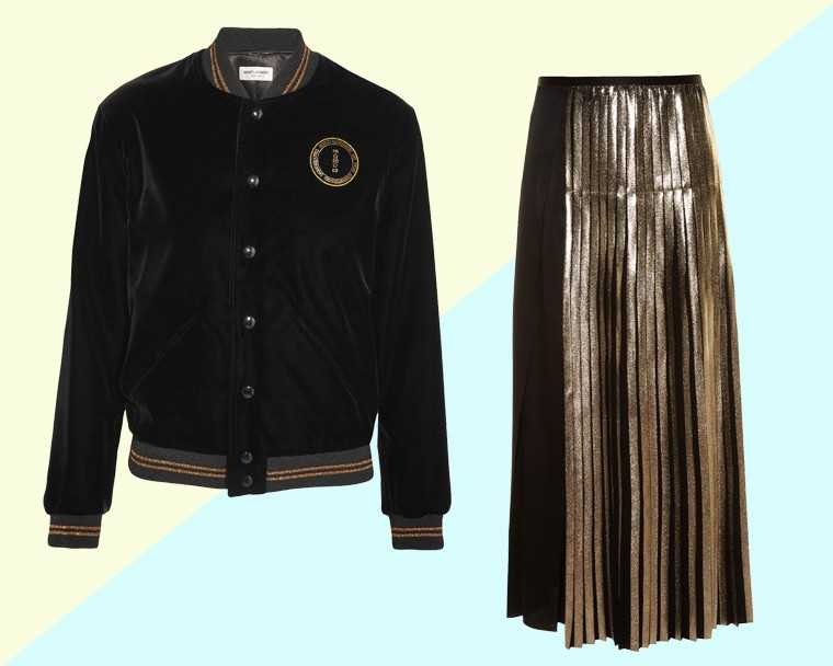 Velvet bomber jacket, price on request, Saint Laurent @ Net-a-porter.com  Pleated crepe skirt, price on request, Stella McCartney @ Matchesfashion.com