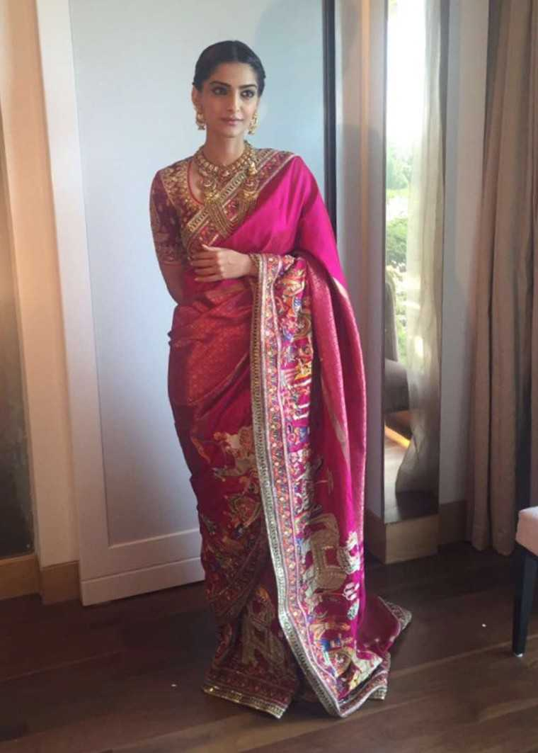 Sonam Kapoor is a picture of grace in her custom Abu Jani Sandeep Khosla sari.