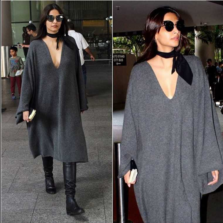 Sonam Kapoor experimented with the slouchy, oversized silhouette in a Chloé cape and a pair of chunky boots.