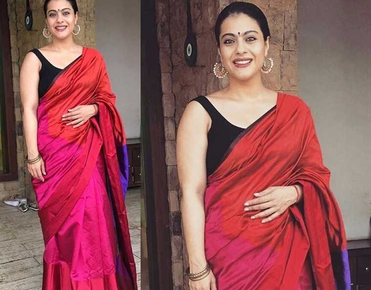 Kajol gave us another winning look in a colour-blocked Payal Khandwala sari that she paired with a sleeveless black blouse. The look oozed classic Bollywood glamour.