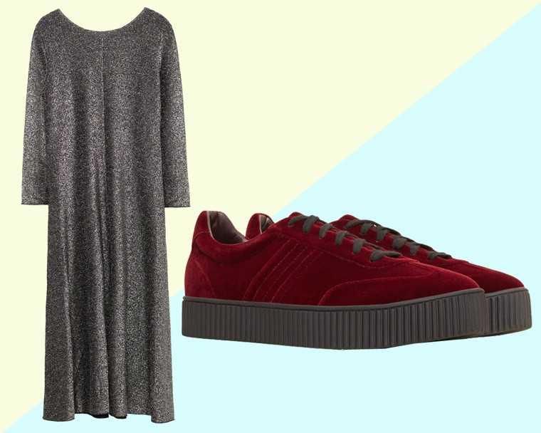 Lurex dress, Rs 2,790, Zara Velvet sneakers, Rs 3,990, Mango