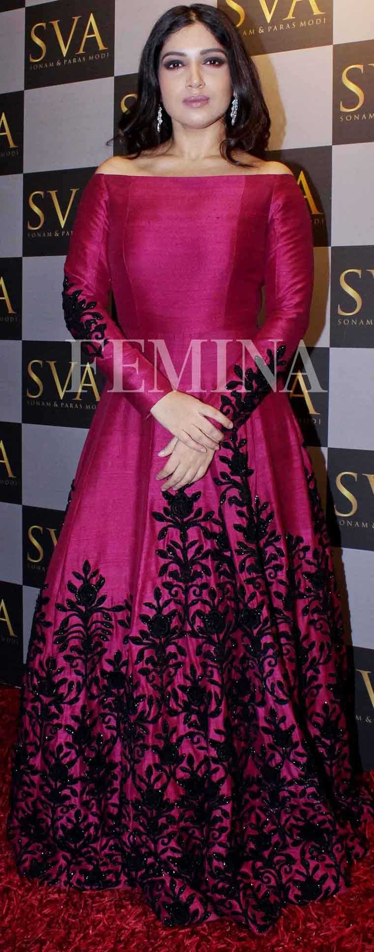 Bhumi Pednekar's embroidered off-shoulder gown by Sva is perfect for the season. She teams it with a pair of diamond earrings.