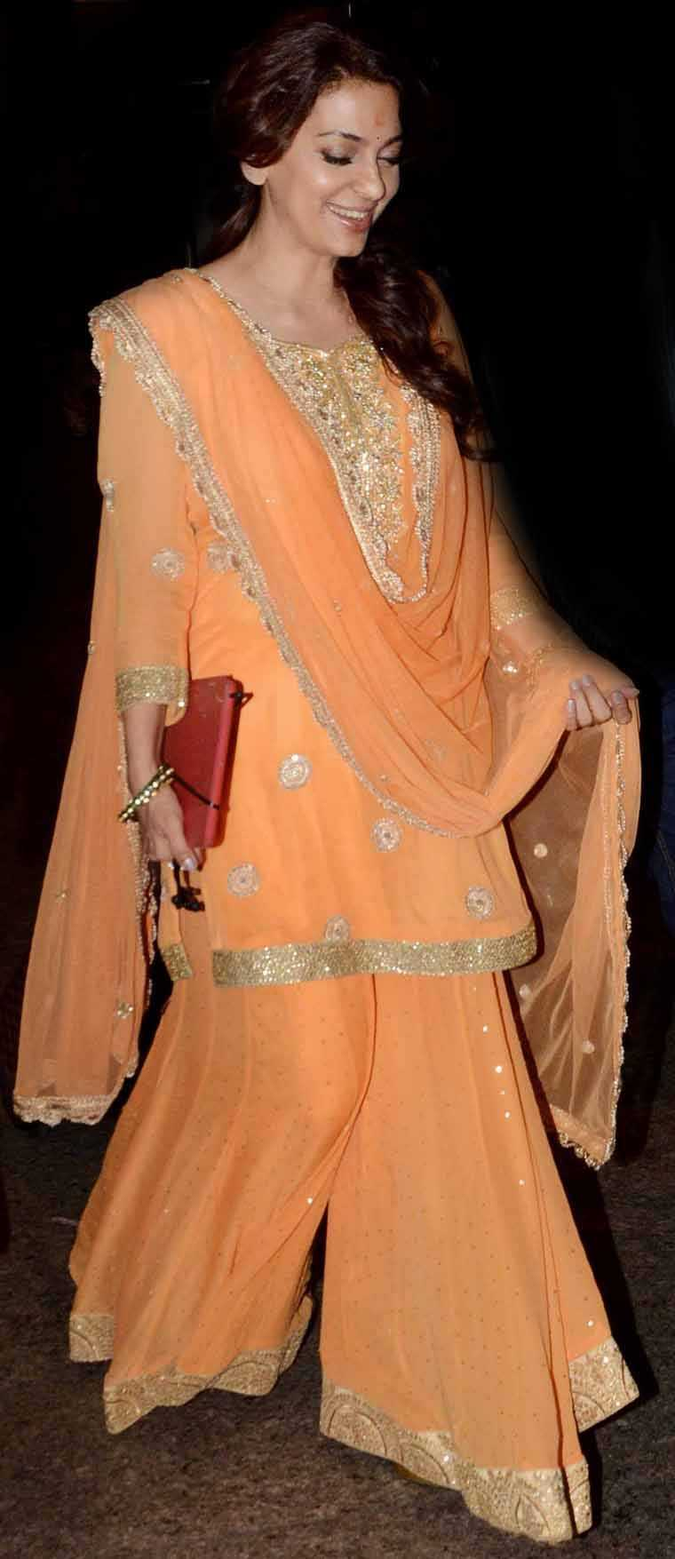 For the festivities this season, Juhi Chawla chose an ensemble from Bhumika Grover's festive collection.