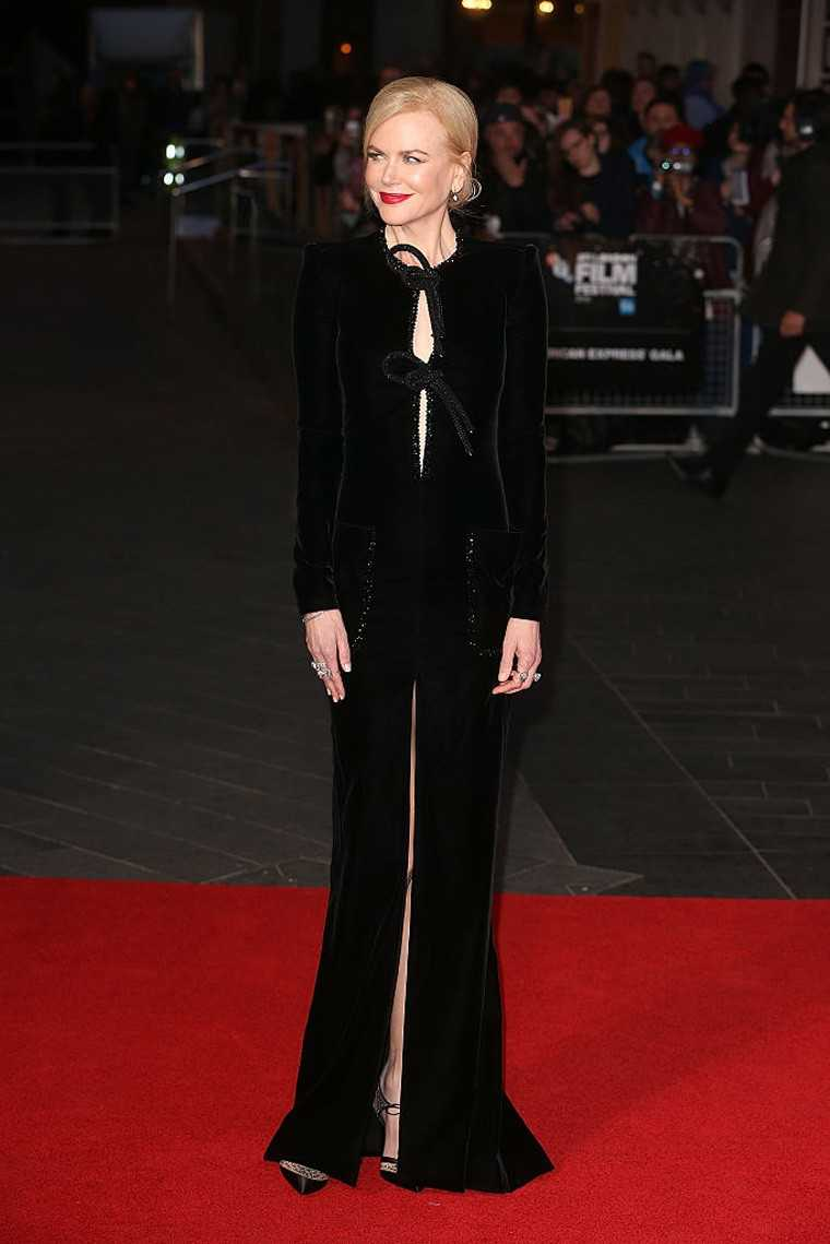 Nicole Kidman owned the red carpet in a black velvet and silk number by Armani Privé.