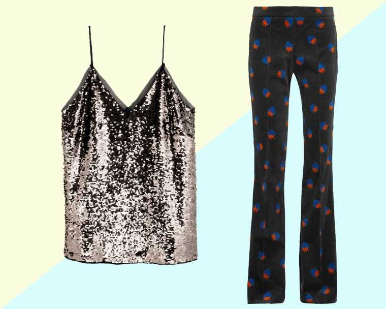 Sequinned camisole, Rs 2,999, H&M Velvet trousers, price on request, Victoria Beckham @ Net-a-porter.com  Image credits: Yogen Shah
