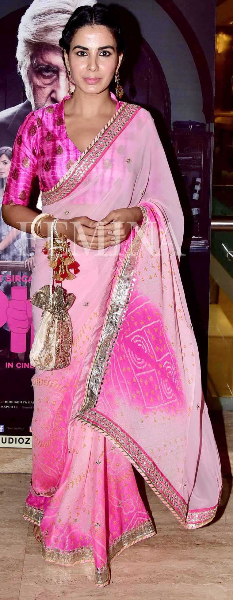 Kirti Kulhari pairs her georgette ombré sari with an embellished hot pink blouse.