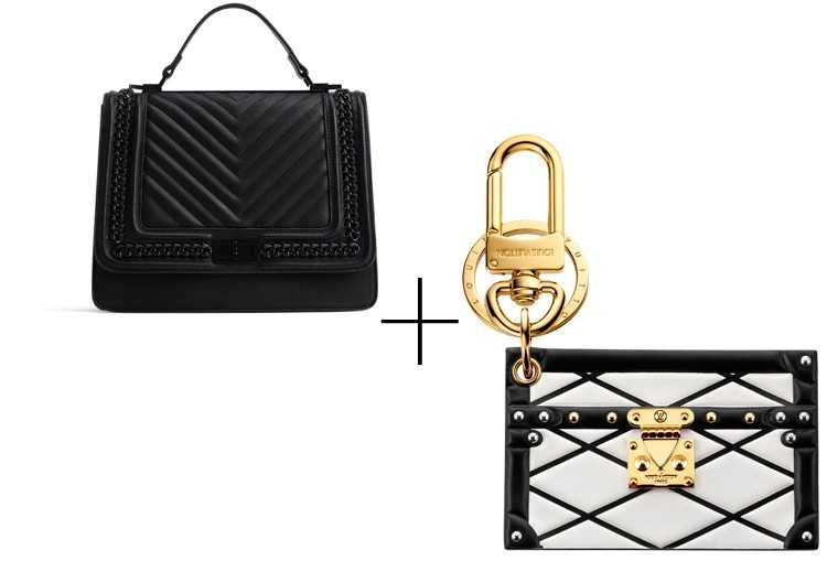 Your pair-with-everything black tote gets a glam eveningwear partner in the form of this adorable mini Louis Vuitton purse. Tote, Aldo Leather pouch, Louis Vuitton
