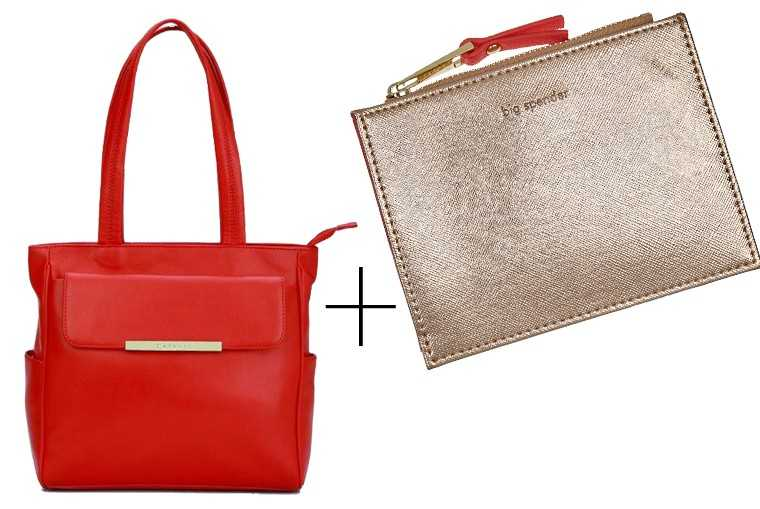 This slouchy red number from Caprese is the perfect antidote to wash away those Monday blues. Fit a shiny gold purse inside to carry your phone, keys and any makeup essentials. Leather holdall, Caprese Ziptop pouch, Accessorize