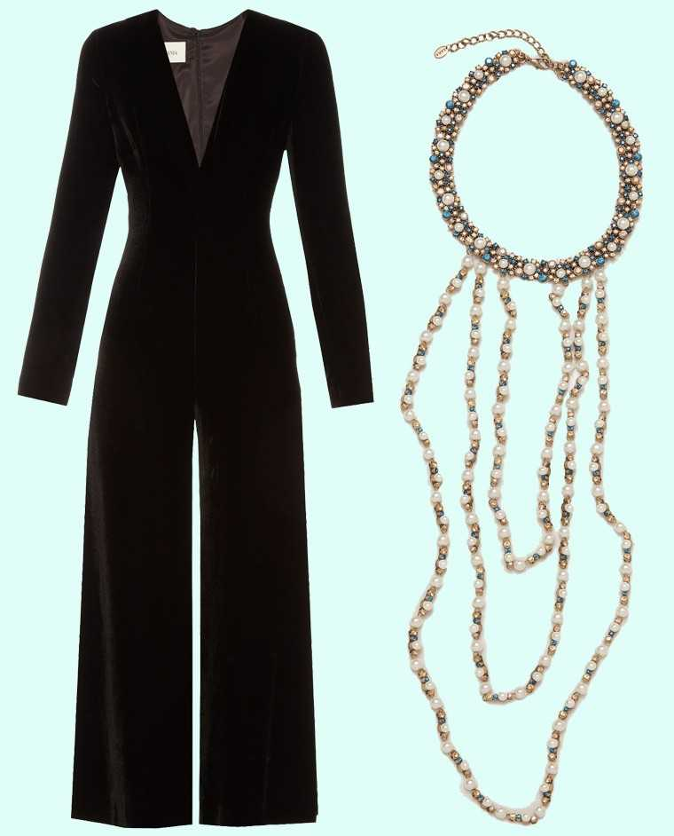 This multi-strand pearl choker is the perfect accessory with a velvet jumpsuit, especially one with a plunging neckline.  Velvet jumpsuit, price on request, La Mania @ Matches fashion.com Pearl choker neckpiece, Rs 2,290, Zara