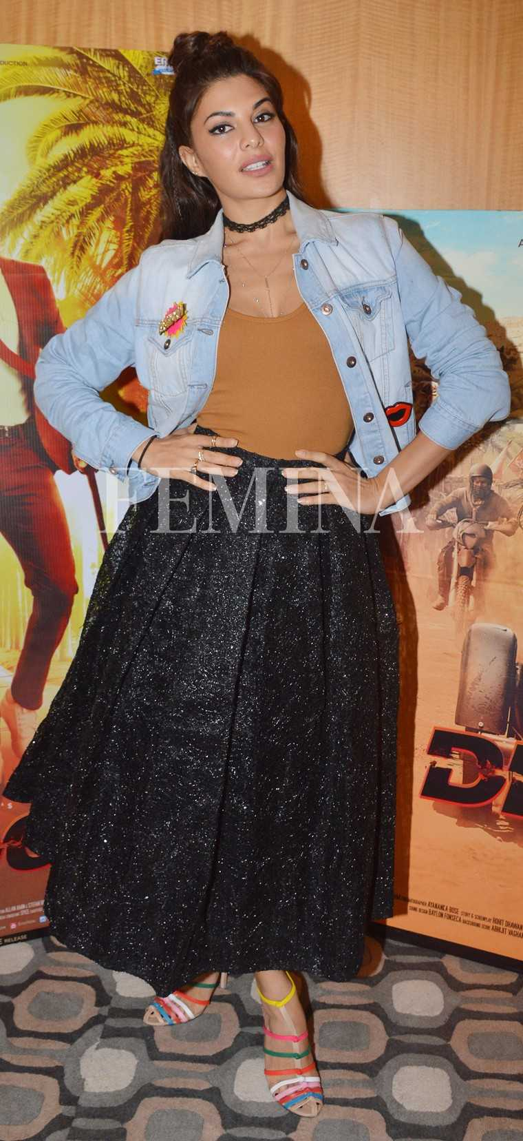 Giving her own spin to the stickered denim jacket was Jacqueline Fernandez who paired hers with a flared Sameer Madan skirt, colourful heels and a '90s-style choker.