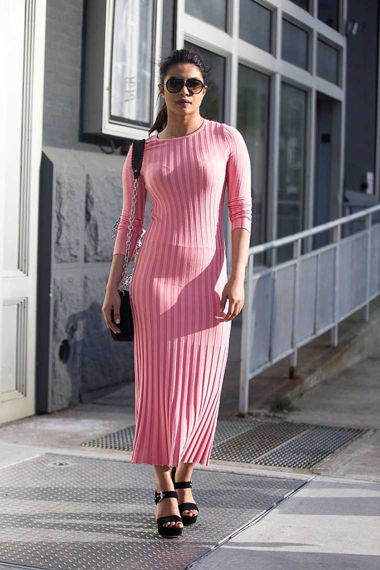 The actor took in designer Altuzarra's Resort 17 show at New York Fashion Week in a bubble-gum pink sheath dress from his latest collection.