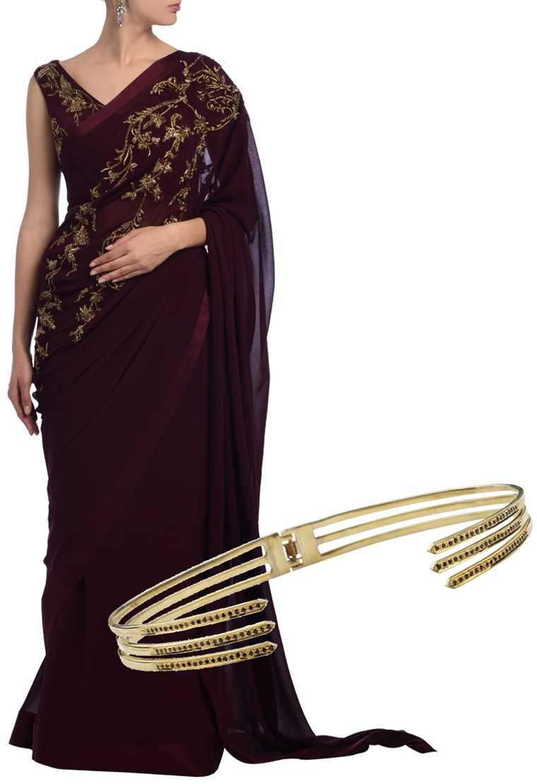 Embroidered georgette sari, price on request, Gaurav Gupta @ Aza  Gold-plated silver choker, Rs 29,250, Myo @ Indelust.com