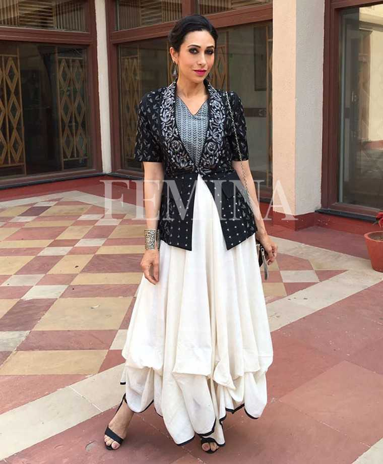 The actor played with volume in her Shruti Sancheti ensemble. She added a sleek updo and a swipe of pink lippie to the mix.
