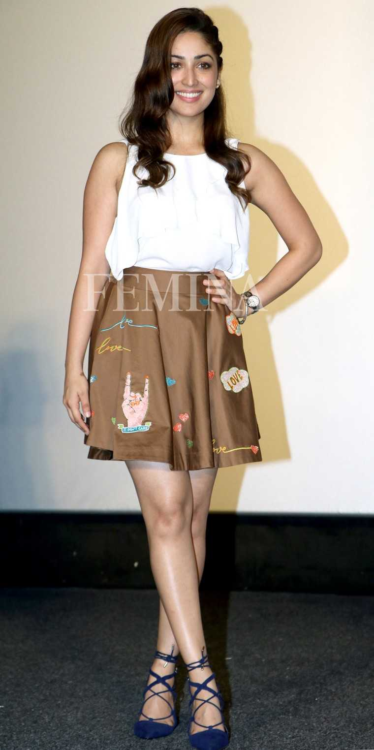 Yami Gautam looked super cute in her Shahin Mannan skater skirt teamed with a white tank and tie-up sandals.
