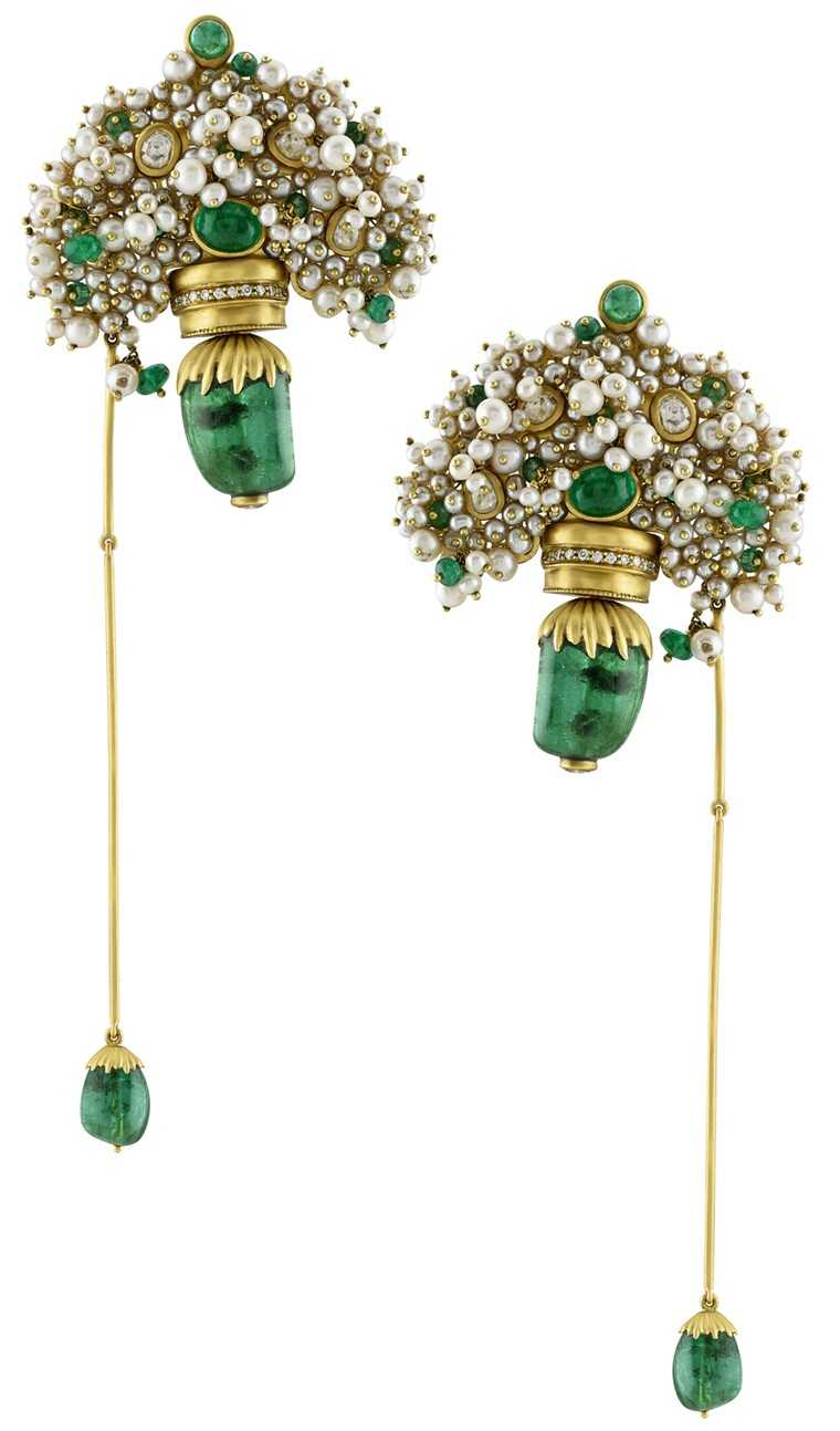 Pearl, bead and gold earrings, Anamika Khanna X Amrapali