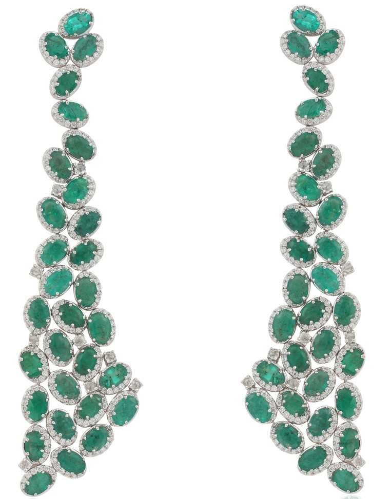 Diamond and emerald earrings, Aurelle by Leshna Shah