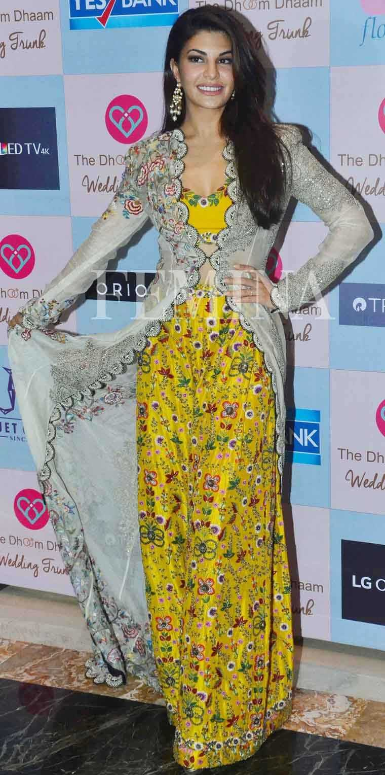 JACQUELINE FERNANDEZ: The actor opted for an interesting Anamika Khanna jacket and lehenga-top outfit. The zingy yellow colour of the skirt and crop top was enough to bring a smile to our faces.