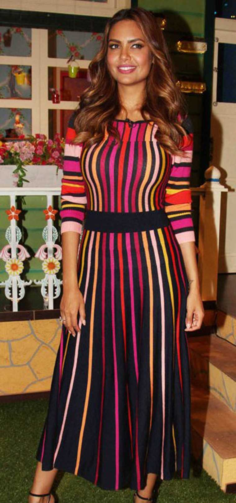 ESHA GUPTA: They key to wearing something with such a vibrant pattern, like these candy-hued lines on Esha's Temperley dress, is to make sure the silhouette and accessories remain ladylike.
