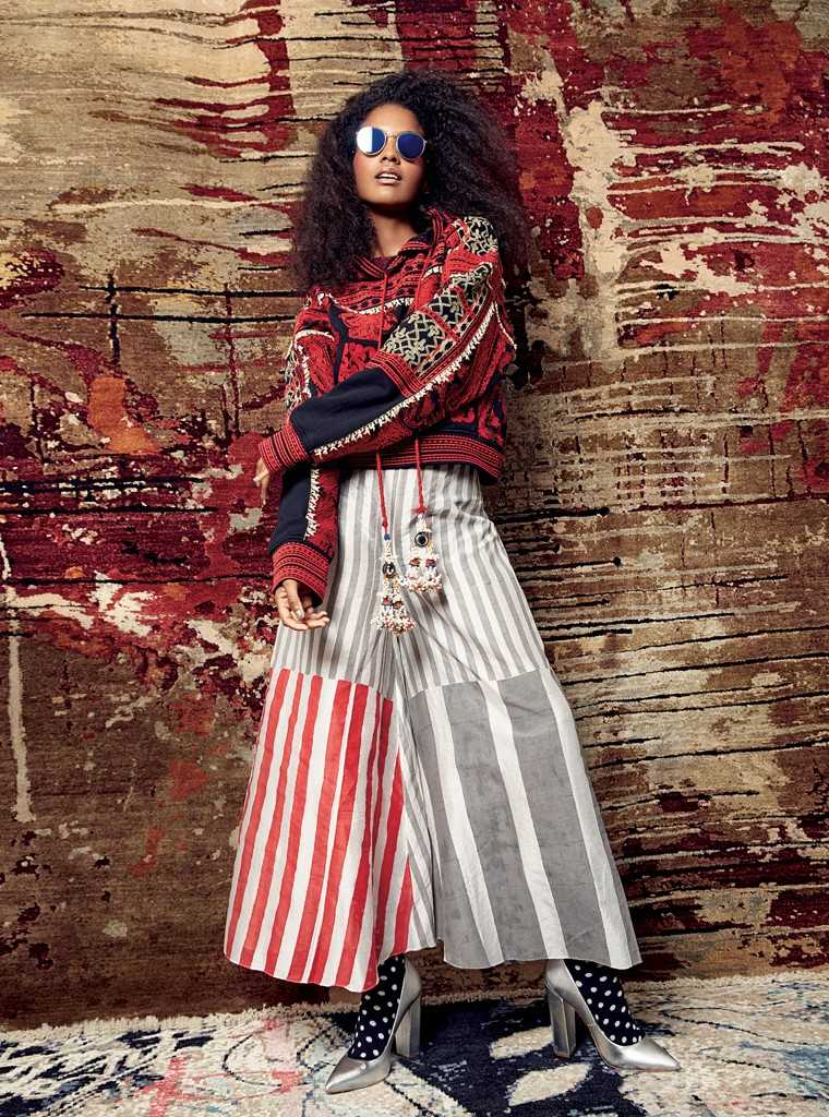 Love and stripes Get into the '70s grove with a pair of printed wide-legged trousers and a boho embroidered hoodie.   Embroidered and beaded hooded jumper, Rs 9,999, H&M; chanderi culottes, Rs 8,800, Anupamaa; cotton socks, Rs 399, Happy Socks; leather