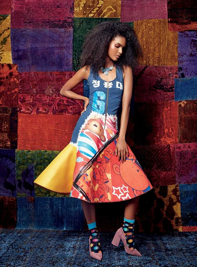 Disney world Take a cartoon print dress to the next level with a statement neckpiece and printed socks.   Denim dress with recycled polythene, Rs 38,000, Amit Aggarwal; cotton socks, Rs 399, Happy Socks; suede block heels, Rs 7,999, Charles and Keith; cry