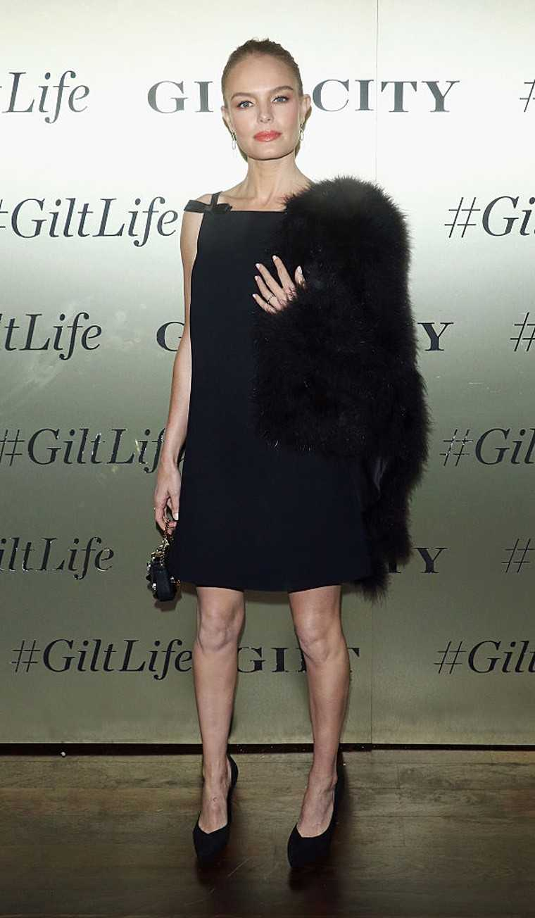 Kate Bosworth went all black in her Miu Miu LBD paired with Saint Laurent heels and a Fendi baguette.