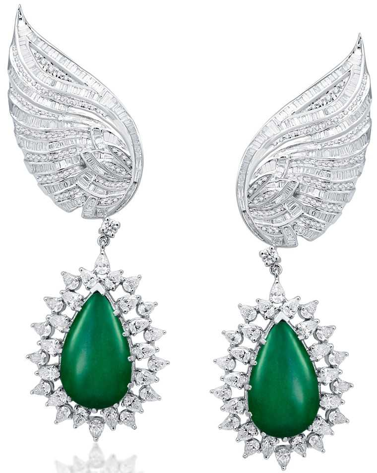 Diamond and emerald earrings, Jaipur Jewels