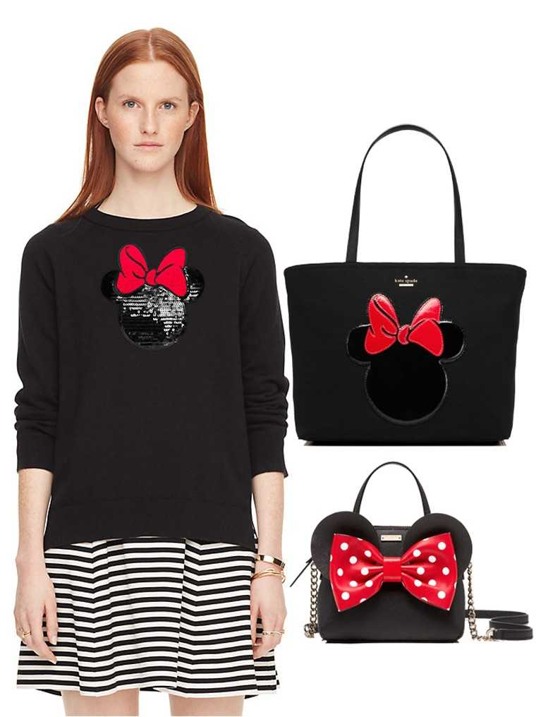 KATE SPADE NEW YORK FOR MINNIE MOUSE Minnie lovers will adore this adorable cute line of accessories and even clothes in black with accents of red, red, featuring Minnie's signature big round ears and luxed up with sparkle.