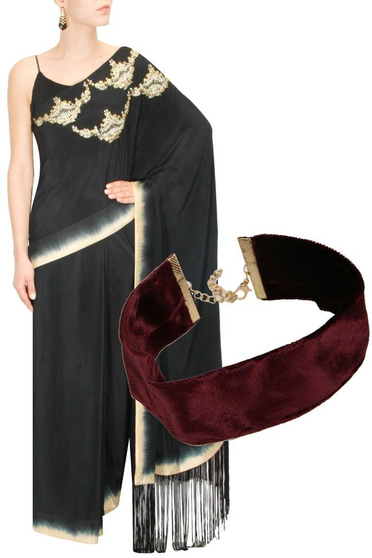 Embellished crepe silk sari, price on request, Nikasha @ Perniaspopupshop.com Velvet choker, Rs 399, Koovs.com