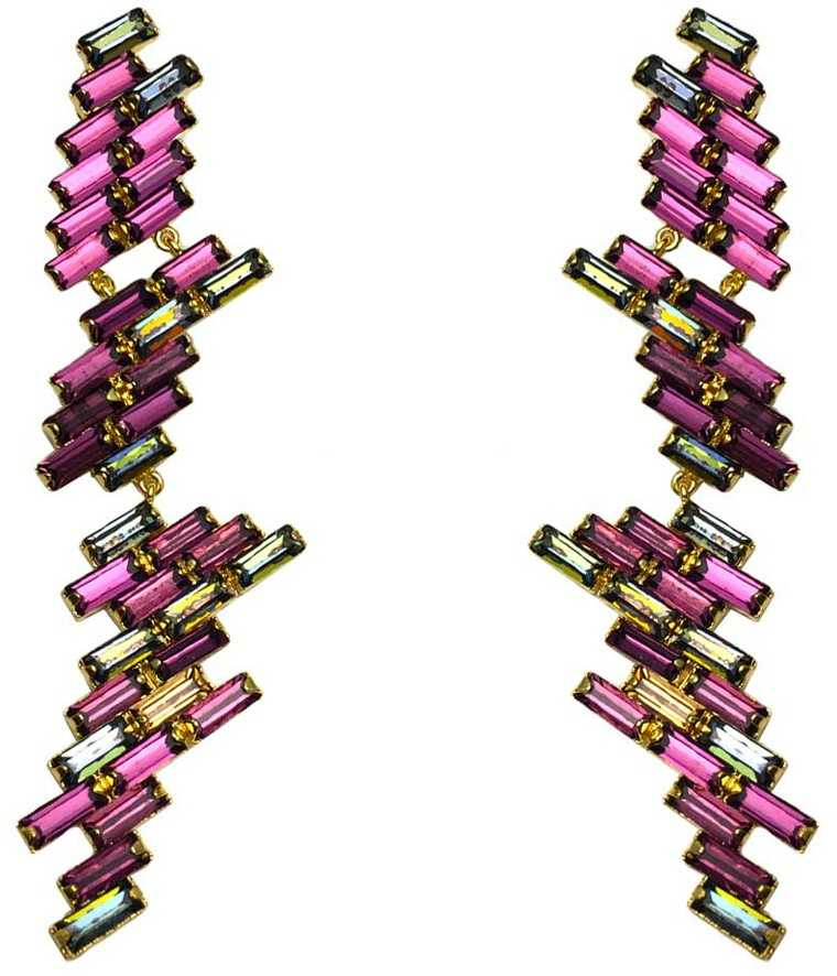 Glass crystal and gold-plated brass earrings, Maithili Kabre