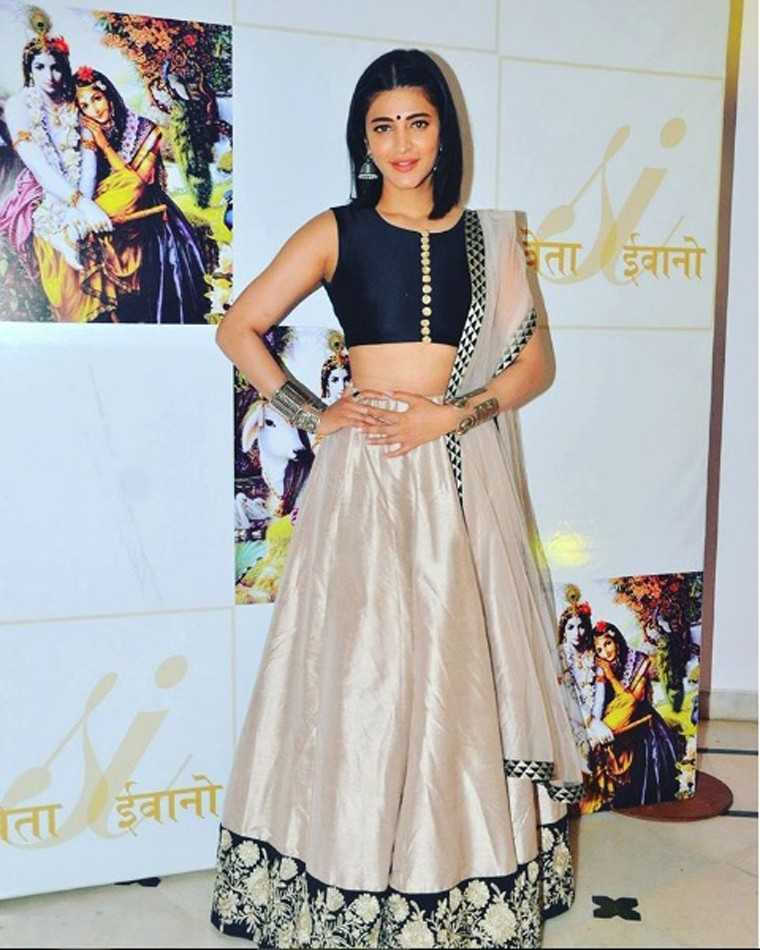 SHRUTI HAASAN: Opt for a lehenga in a muted tone to avoid looking too much like a bride-to-be. Shruti's pale, nude pink Payal Singhal lehenga with a sporty, crop top-style choli, strikes just the right balance.