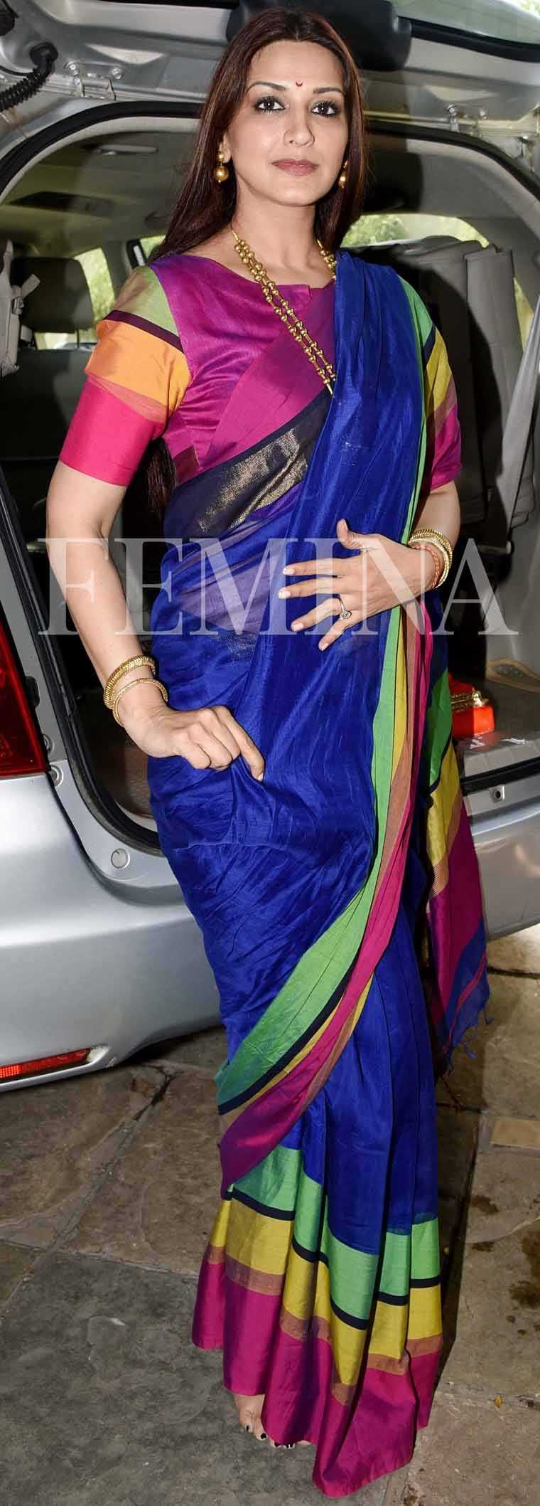SONALI BENDRE: There's nothing like a classic sari to get you in the festive spirit. Sonali recently took part in festive celebrations wearing a jewel-toned striped sari.