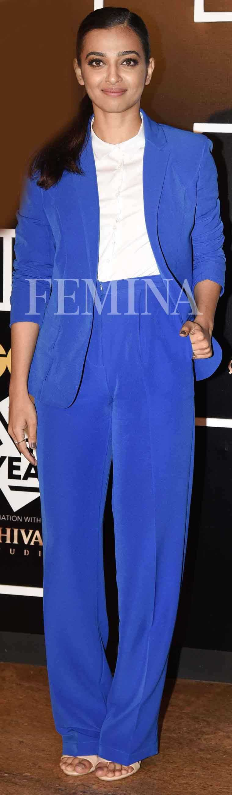 At a recent event, Radhika Apte let the colour of her pantsuit do all the talking. She is wearing Swapnil Shinde.