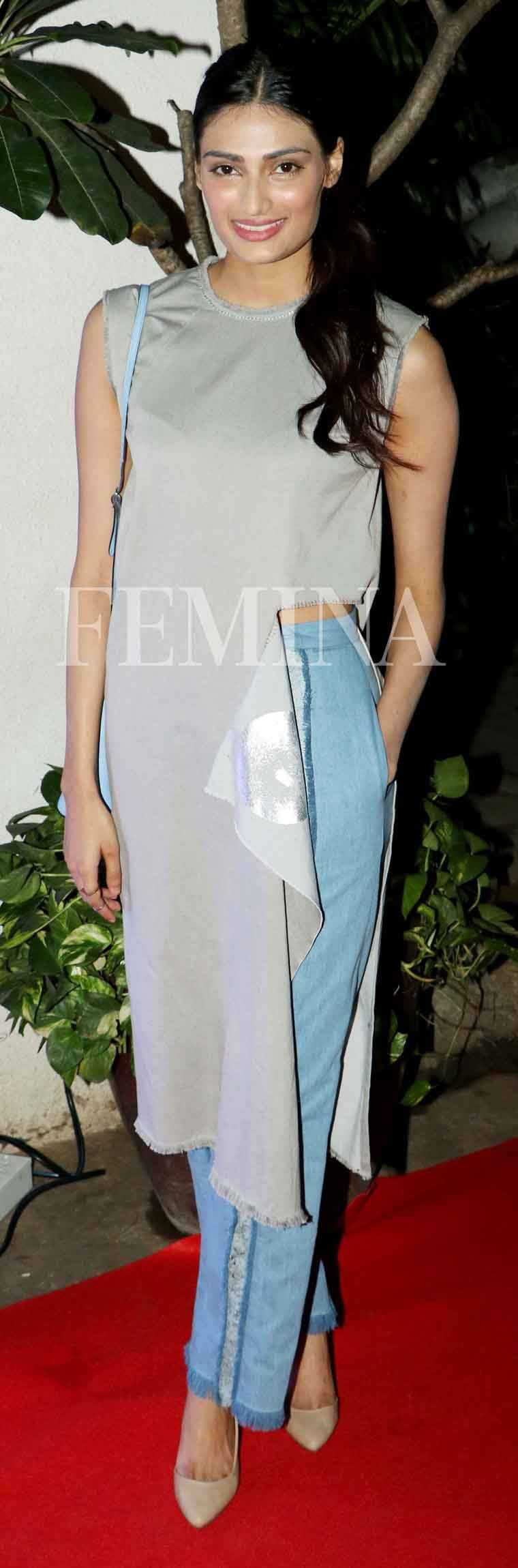 Athiya Shetty stepped out in asymmetrical separates by Kanelle proving that it's good to keep things wonky once in a while. Inspired by Athiya's look we've put together the season's hottest asymmetrical separates to invest in right now. Pay attent
