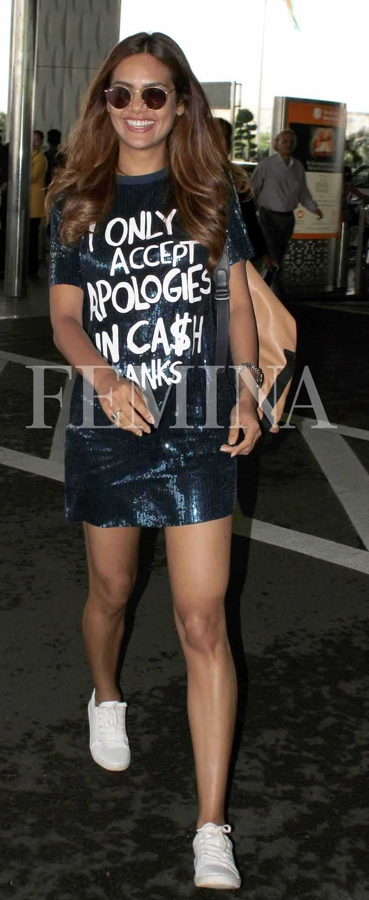 Esha Gupta opted for a sequinned mini dress from Zara with a bold slogan.