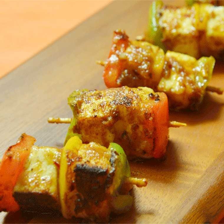 Paneer Shashlik with BBQ sauce