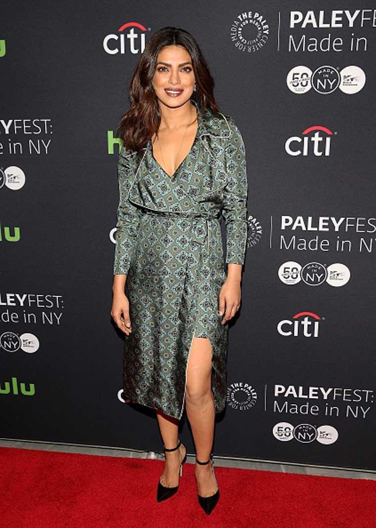 Priyanka Chopra green wrap dress