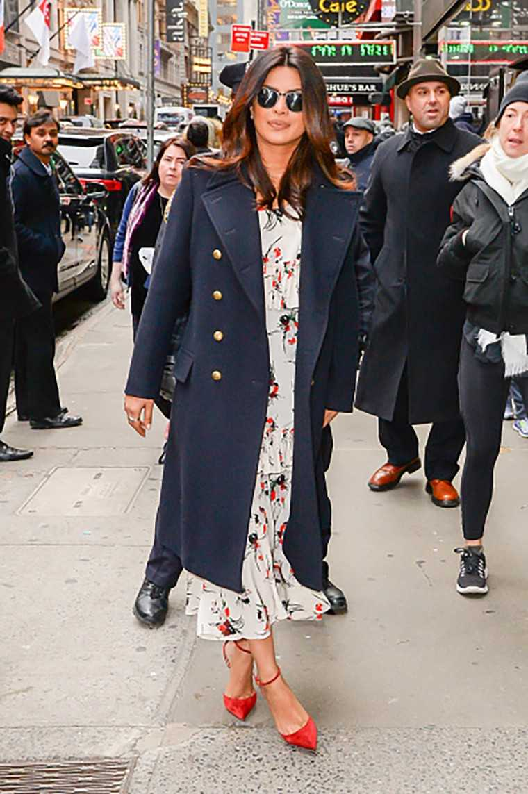 The navy peacoat Priyanka Chopra