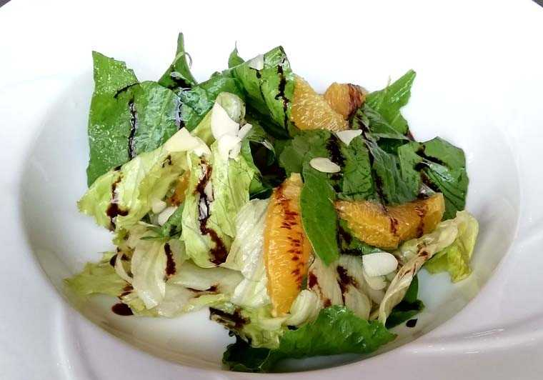 Baby spinach & lettuce salad with orange balsamic vinaigrette