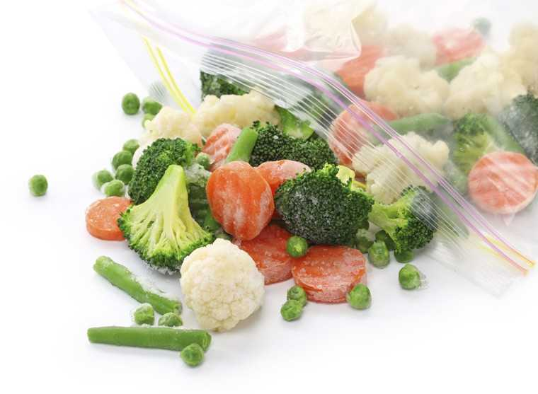 Frozen vegetables or ice