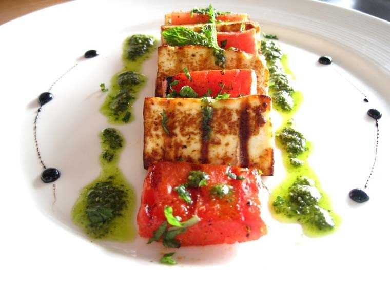 Grilled mint, watermelon & cottage cheese with mint pesto